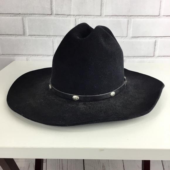 0466cd64c17a1 Texas MHT authentic lamb-skin black cowboy hat. M 5b59316fdcf8556026745ddf